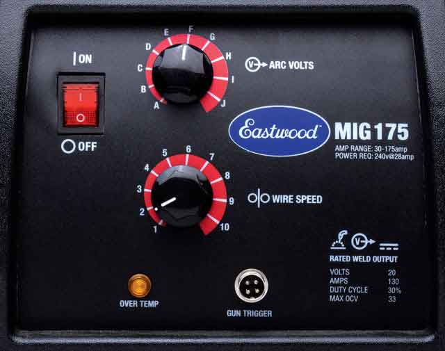Eastwood MIG 175 Welding Control Panel