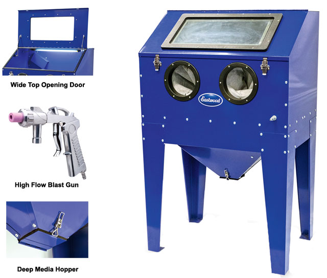 the abrasive blast cabinet is the largest blast cabinet on the market that does not require truck shipping costs or drop gate fees saving you a lot of