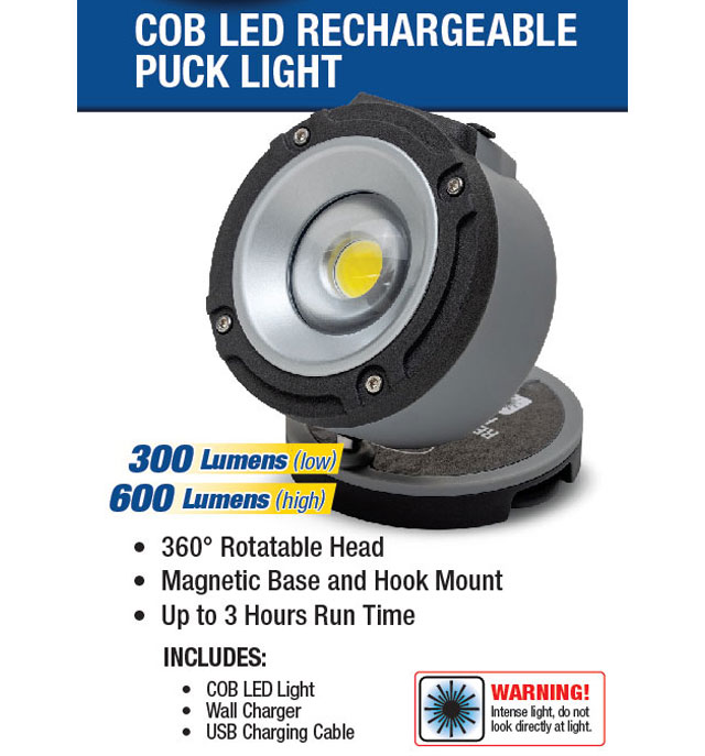 Eastwood Cob Led Rechargeable Puck Style Shop Light
