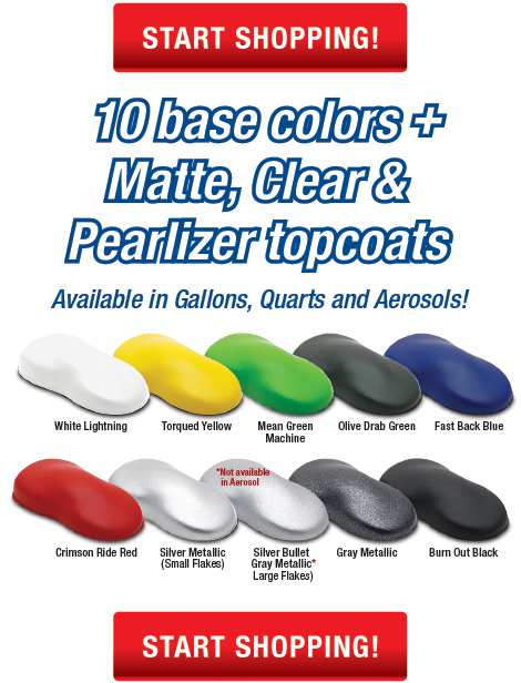 ElastiWrap in available in 10 base colors, small and large fleck silvers, plus Matte, Clear and Pearlizer topcoats for endless color effects!