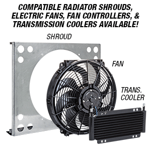 Tri-Flow Radiator compatible Shrouds, Electric Fans, Fan Controllers, and Transmission Coolers available at Eastwood Company.