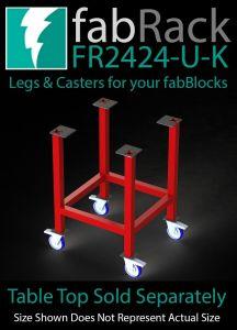 "CertiFlat FR2424-U-K 24"" X 24"" fabRack Leg Kit with Casters for fabBlocks"