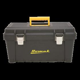 Homak 19 Inch Black Plastic Tool Box w/Metal Latches & Plastic Tray BK00219001