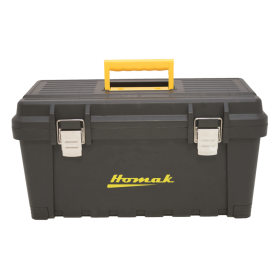 Homak 22 Inch Black Plastic Tool Box w/Metal Latches & Plastic Tray BK00222001
