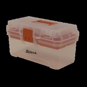 Homak 12 Inch Plastic Transparent Toolbox w/ Tray TP00112055