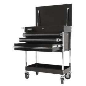 Homak 34 Inch Professional 3 Drawer Service Cart - Black  BK05500200