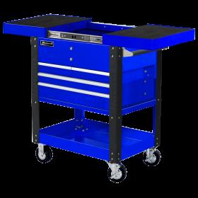 Homak 35 Inch 4 DRAWER SLIDE TOP CART - BLUE BL06043500