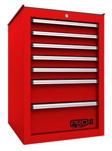 Homak 14 1/2 Inch Inch Pro II 7-Drawer Side Cabinet - Red RD08014552