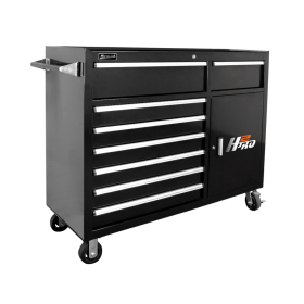 Homak 56 Inch H2Pro  8 Drawer w/ 2 Drawer Comp Roller - Black  BK04056082