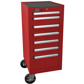 Homak 18 Inch H2Pro Series 7 Drawer Side Cabinet - Red RD08018070