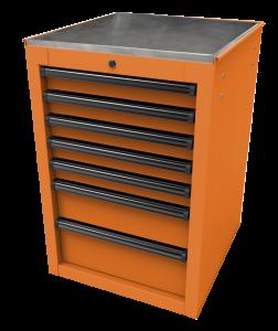 Homak 22 Inch RS Pro 7-Drawer Side Cabinet - Orange OG08022070