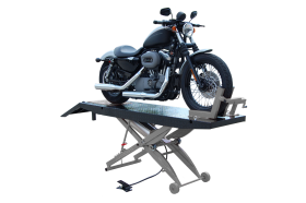 Titan Lifts SDML-1000D - Motorcycle Lift - Black/Grey - Diamond Plate Table - Ramp & Vise - Front Extension - 1000 lb. Capacity SDML-1000D-BG