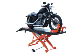 Titan Lifts SDML-1000D - Motorcycle Lift - Black/Orange - Diamond Plate Table - Ramp & Vise - Front Extension - 1000 lb. Capacity SDML-1000D-BO