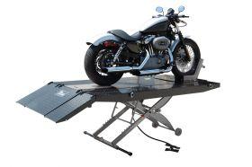 Titan Lifts SDML-1000D-XLT - Motorcycle Lift - Black/Grey - Diamond Plate Table - Ramp & Vise - Front & Side Extensions - 1000 lb. Capacity SDML-1000D-BG-XLT