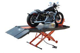 Titan Lifts SDML-1000D-XLT - Motorcycle Lift - Black/Orange - Diamond Plate Table - Ramp & Vise - Front & Side Extensions - 1000 lb. Capacity SDML-1000D-BO-XLT