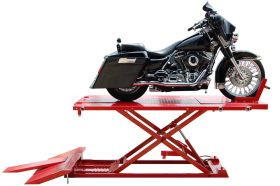 Titan Lifts Motorcycle Lift - Red - Diamond Plate Table - Ramp - Front & Side Extensions - 1500 lb. Capacity HDML 1500XLT-RD