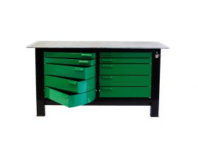 BADASS Workbench 2BAYKL 6FT LONG - TWO FULL BANKS OF DRAWERS AND KEYED LOCKS - OVERALL DIMENSIONS 72L X 32D X 41H (37.5 Inch WORKING HEIGHT) - 2BAYKL