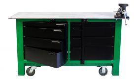 BADASS Workbench 2BAYKL-WC 6FT LONG WITH CASTERS - TWO FULL BANKS OF DRAWERS WITH KEYED LOCKS - OVERALL DIMENSIONS 72L X 32D X 43H (39.5 Inch WORKING HEIGHT) - 2BAYKL-WC