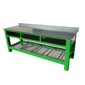 BADASS Workbench 3BAYSDWC 8FT LONG WITH CASTERS - THREE 6 Inch DRAWERS AND FULL SIZE WIRE SHELF - OVERALL DIMENSIONS 96L X 32D X 41H (37.5 Inch WORKING HEIGHT) - 3BAYSDWC
