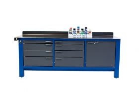 BADASS Workbench 3BAY 8FT LONG - THREE FULL BANKS OF DRAWERS - OVERALL DIMENSIONS 96L X 32D X 41H (37.5 Inch WORKING HEIGHT) - 3BAY