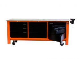 BADASS Workbench 3BAYWC 8FT LONG WITH CASTERS - THREE FULL BANKS OF DRAWERS - OVERALL DIMENSIONS 96L X 32D X 43H (39.5 Inch WORKING HEIGHT) - 3BAYWC