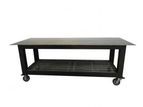 BADASS Workbench 3X8WELD-12WC 3FT X 8FT X 36 Inch TALL  WELDING TABLE WITH 1/2 Inch PLATE STEEL TOP & CASTERS  - 3X8WELD-12WC