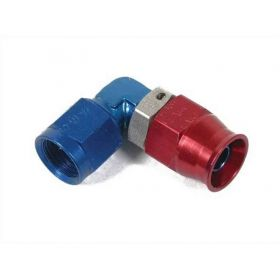 Earls 90 Degree Speed-Seal Hose End Hose Size -3 Nut Size 3 Aluminum Adjustable Low Profile - Red/Blue 609033ERL