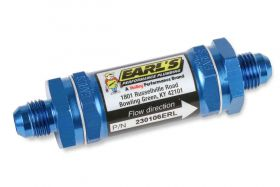 Earls Fuel Filter w/ Sintered Bronze Element - 35 Micron - 6 AN Male Inlet & Outlet - Blue 230106ERL