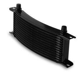Earls Temp-A-Cure Oil Cooler - Black - 13 Rows - Narrow Curved Cooler -6 AN Male Flare Ports 71306AERL