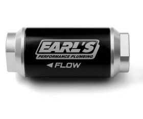 Earls 100 GPH Billet Aluminum Fuel Filter - 10 Micron - AN -6 Female Inlet & Outlet - O-Ring - Black Body w/ Clear Anodized Ends 230606ERL