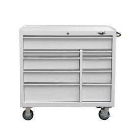 "Viper Storage Viper Tool Storage Premium Series 41"" 9 Drawer 18G Steel Rolling Tool Cabinet, White V"