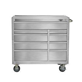 "Viper Storage Viper Tool Storage Premium Series 41"" 9 Drawer 18G Steel Rolling Tool Cabinet, Stainle"