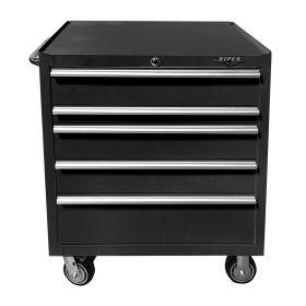 "Viper Storage Viper Tool Storage 33"" 5-Drawer 18g Steel Rolling Cabinet, Black V332405BLR"
