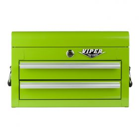 Viper Storage Viper Tool Storage 18-Inch 2-Drawer 18G Steel Mini Tool Chest, Lime Green LB218MC