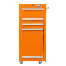Viper Storage Viper Tool Storage 16-Inch 4-Drawer 18G Steel Rolling Tool/Salon Cart, Orange V1804ORR