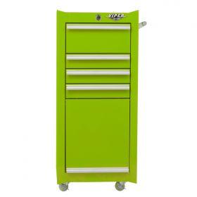 Viper Storage Viper Tool Storage 16-Inch 4-Drawer 18G Steel Rolling Tool/Salon Cart, Lime LB1804R