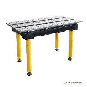 BuildPRO Welding Tables Slotted Table; 2 ft x 4 ft - Nitrided, with Adj. Round Legs & Casters TMQRC52246