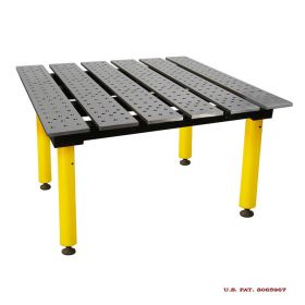BuildPRO Welding Tables Slotted Table; 4 ft x 4 ft - Std Finish, with Adj. Round Legs & Casters TMRC54746