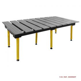 BuildPRO Welding Tables Slotted Table; 6-1/2 ft x 3 ft - Nitrided, with Adj. Round Legs TMQR57838