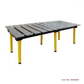 BuildPRO Welding Tables Slotted Table; 8 ft x 4 ft - Nitrided, with Adj. Round Legs & Casters TMQRC59446