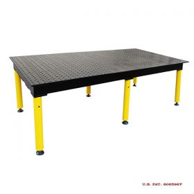 BuildPRO Welding Tables MAX Table; 6 ft x 4 ft - Nitrided, with Adj. Round Legs & Casters TMQRC57248F